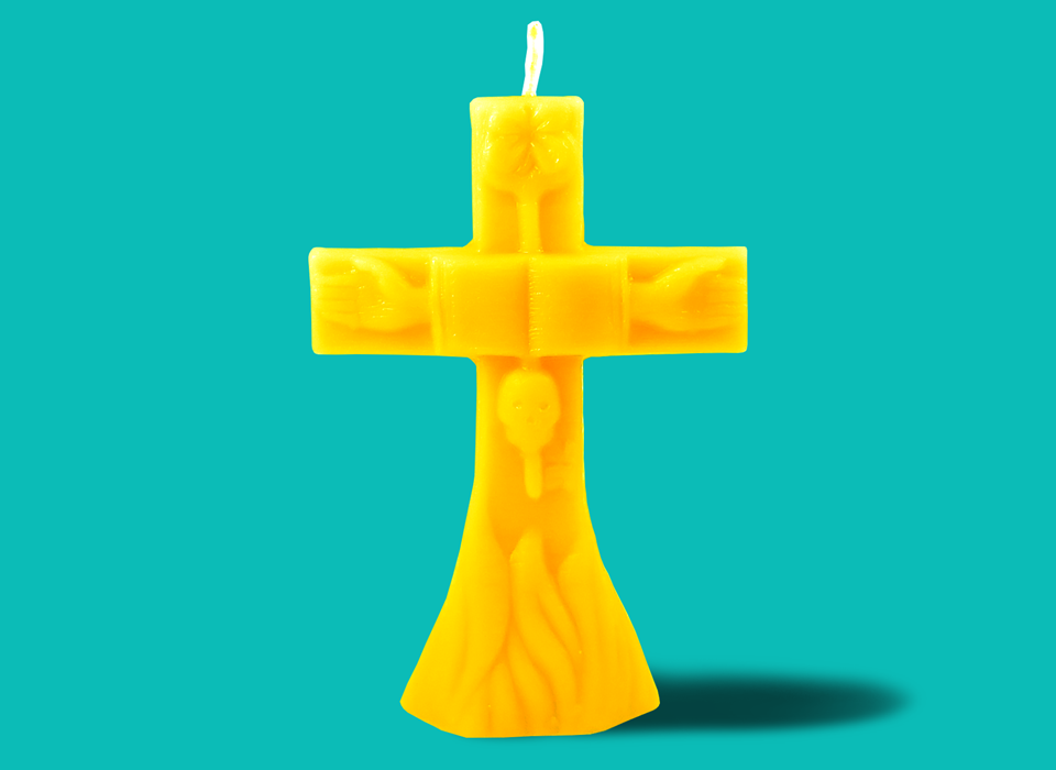 "Large Yellow Gold Cross Candle (7"")"