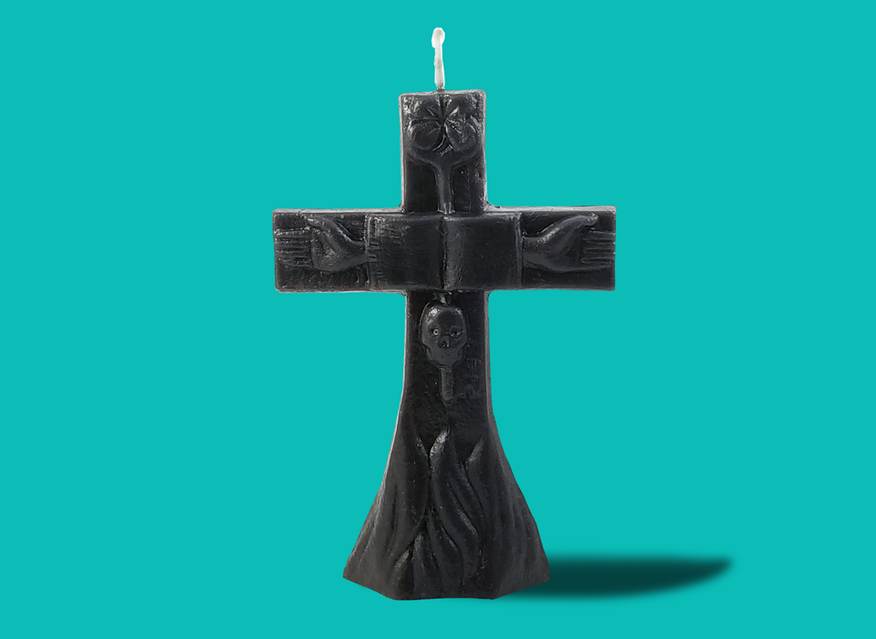 "Large Black Cross Candle (7"")"