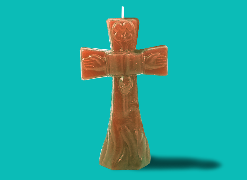 "Small Brown Cross Candle (4"")"
