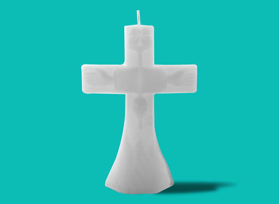 "Large White Cross Candle (7"")"
