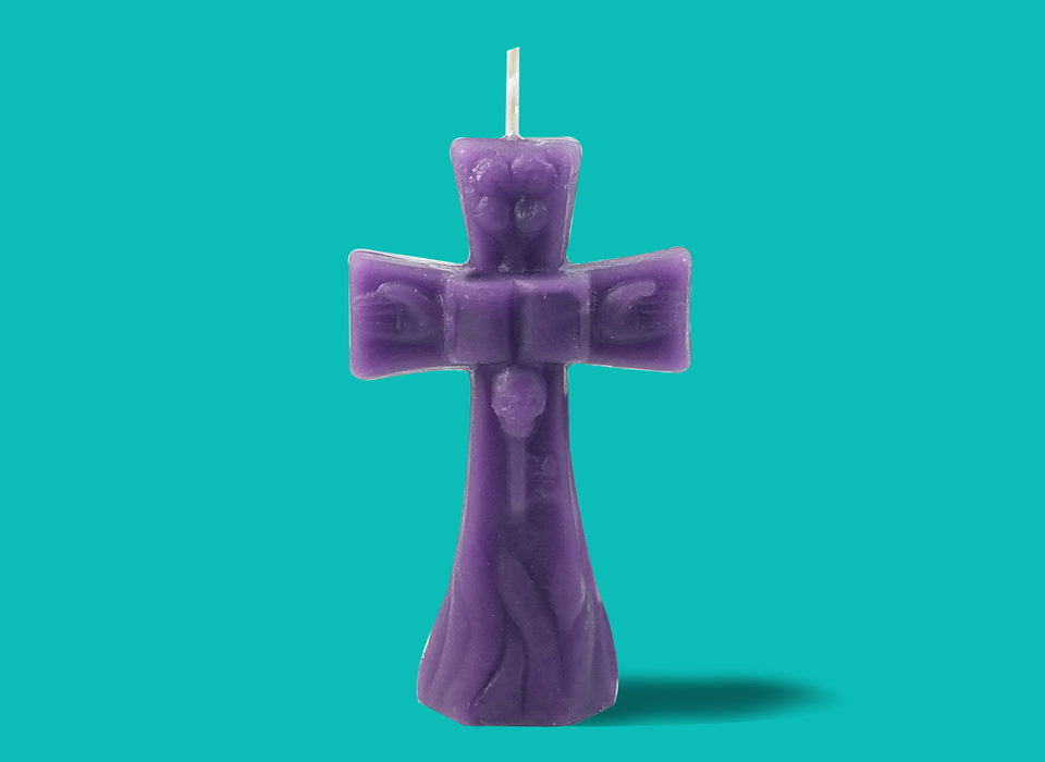 "Small Purple Cross Candle (4"")"