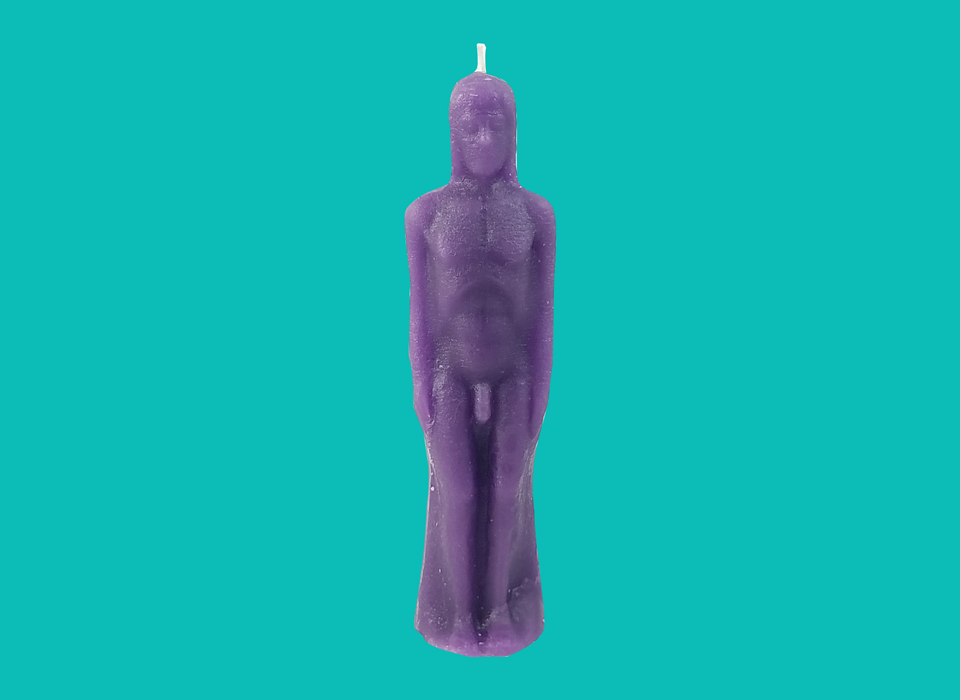 Purple Male Figure Candle