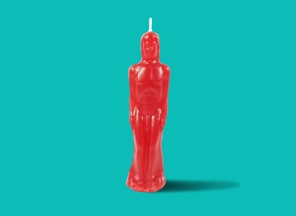 Red Male Figure Candle
