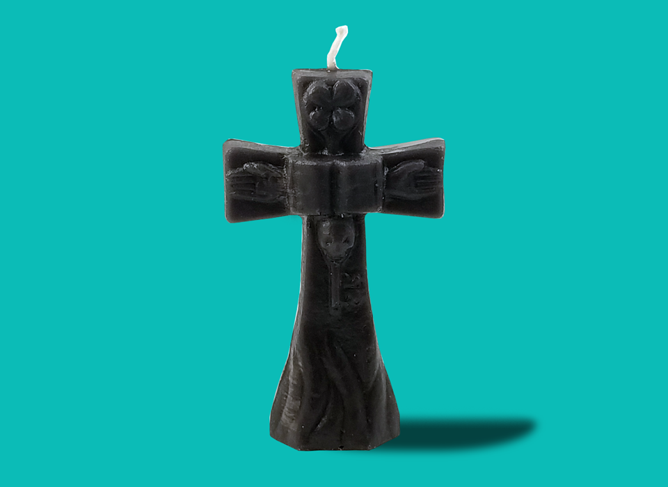 "Small Black Cross Candle (4"")"